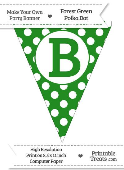 Forest Green Polka Dot Pennant Flag Capital Letter B from PrintableTreats.com
