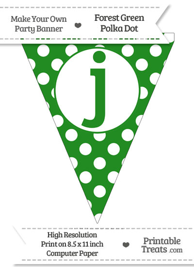 Forest Green Polka Dot Pennant Flag Lowercase Letter J from PrintableTreats.com