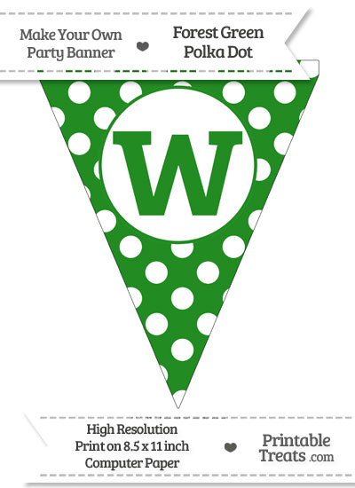 Forest Green Polka Dot Pennant Flag Lowercase Letter W from PrintableTreats.com