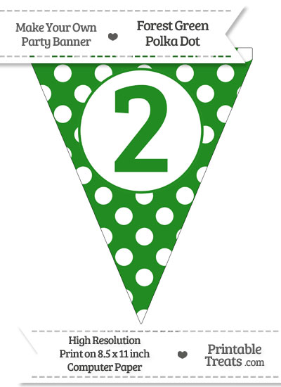 Forest Green Polka Dot Pennant Flag Number 2 from PrintableTreats.com