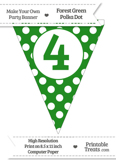 Forest Green Polka Dot Pennant Flag Number 4 from PrintableTreats.com
