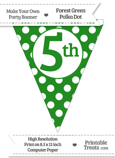 Forest Green Polka Dot Pennant Flag Ordinal Number 5th from PrintableTreats.com