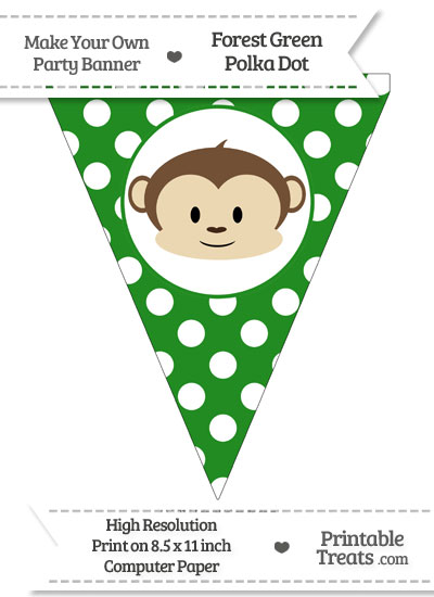 Forest Green Polka Dot Pennant Flag with Boy Monkey from PrintableTreats.com