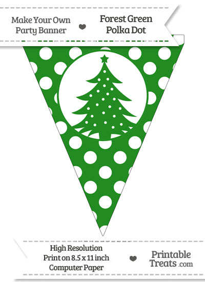 Forest Green Polka Dot Pennant Flag with Christmas Tree from PrintableTreats.com