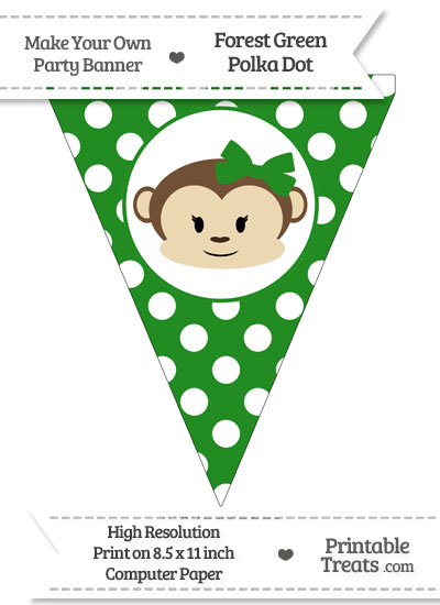 Forest Green Polka Dot Pennant Flag with Girl Monkey from PrintableTreats.com