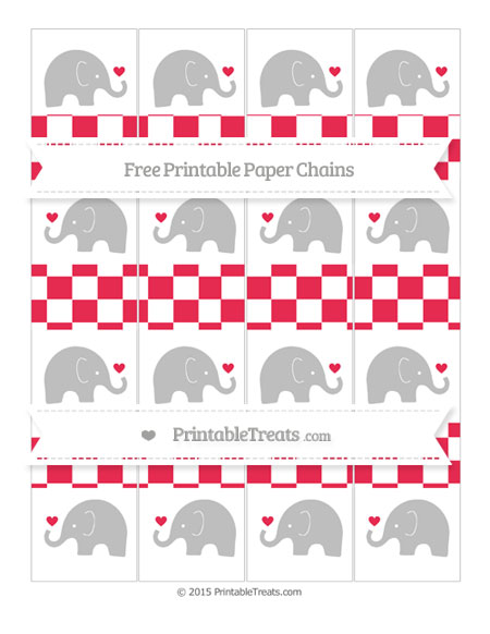 Free Amaranth Pink Checker Pattern Baby Elephant Paper Chains