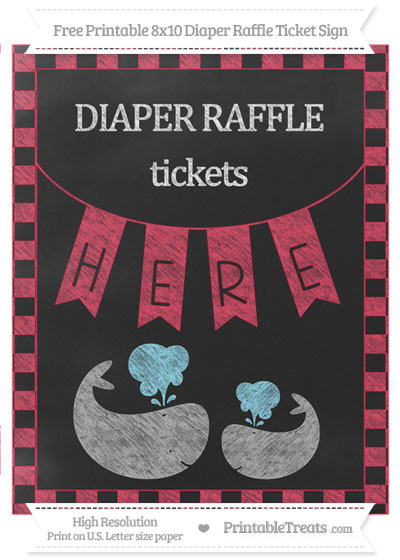 Free Amaranth Pink Checker Pattern Chalk Style Baby Whale 8x10 Diaper Raffle Ticket Sign