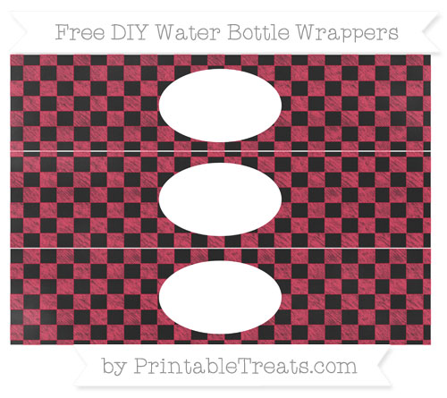 Free Amaranth Pink Checker Pattern Chalk Style DIY Water Bottle Wrappers