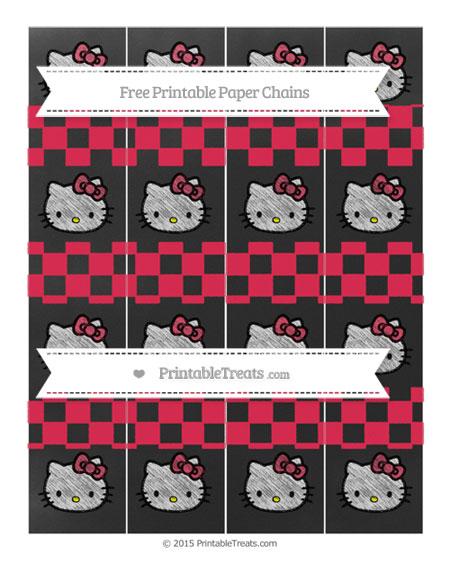 Free Amaranth Pink Checker Pattern Chalk Style Hello Kitty Paper Chains