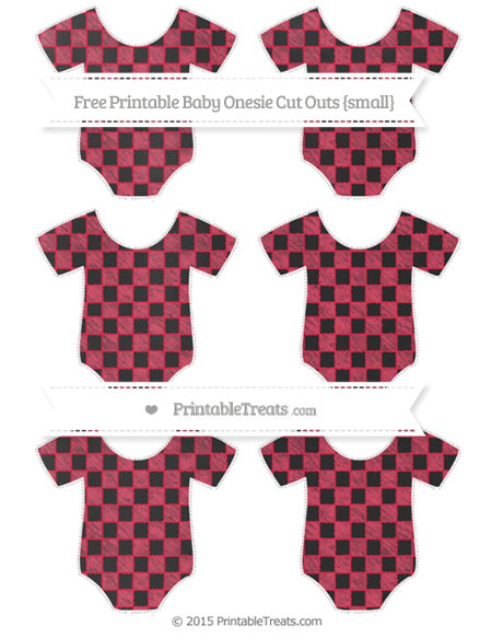 Free Amaranth Pink Checker Pattern Chalk Style Small Baby Onesie Cut Outs