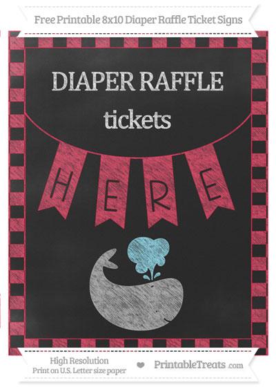 Free Amaranth Pink Checker Pattern Chalk Style Whale 8x10 Diaper Raffle Ticket Sign