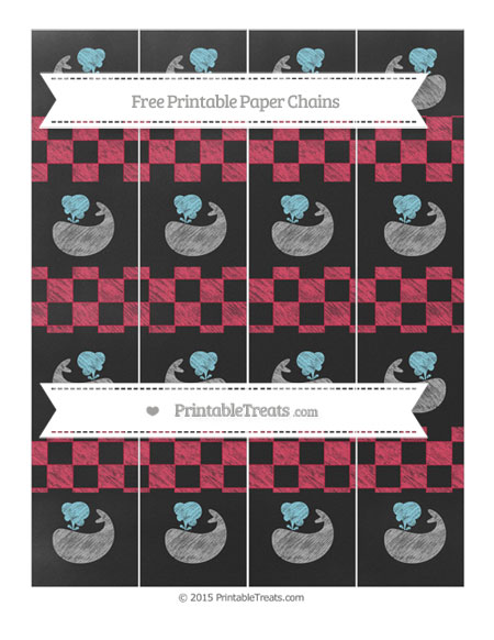 Free Amaranth Pink Checker Pattern Chalk Style Whale Paper Chains