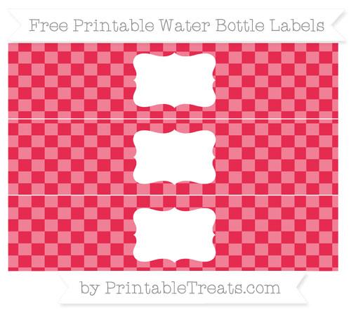 Free Amaranth Pink Checker Pattern Water Bottle Labels
