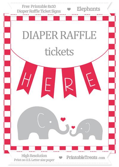 Free Amaranth Pink Checker Pattern Elephant 8x10 Diaper Raffle Ticket Sign