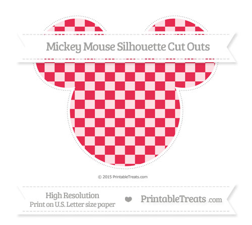 Free Amaranth Pink Checker Pattern Extra Large Mickey Mouse Silhouette Cut Outs