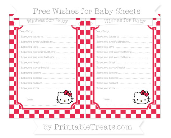 Free Amaranth Pink Checker Pattern Hello Kitty Wishes for Baby Sheets