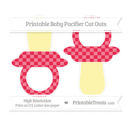 Free Amaranth Pink Checker Pattern Large Baby Pacifier Cut Outs