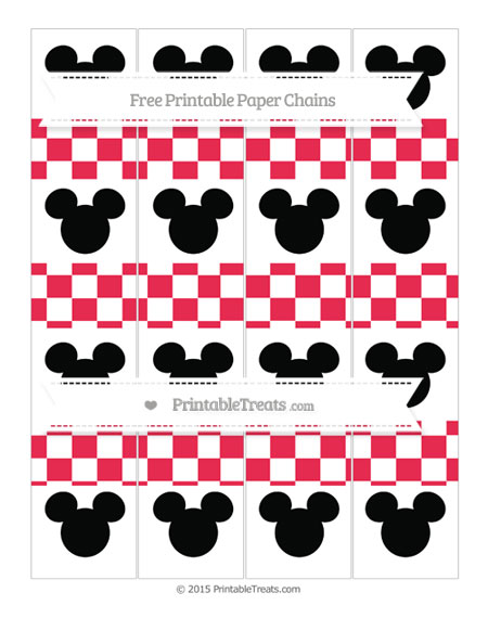 Free Amaranth Pink Checker Pattern Mickey Mouse Paper Chains