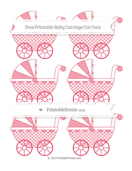 Free Amaranth Pink Checker Pattern Small Baby Carriage Cut Outs