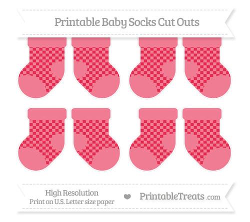 Free Amaranth Pink Checker Pattern Small Baby Socks Cut Outs