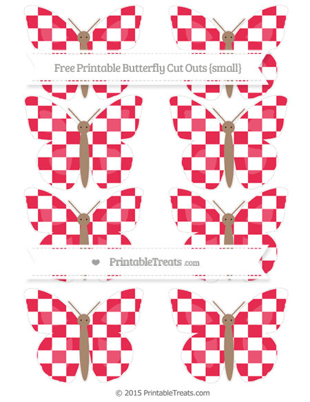 Free Amaranth Pink Checker Pattern Small Butterfly Cut Outs