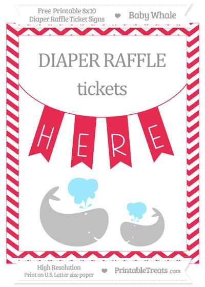 Free Amaranth Pink Chevron Baby Whale 8x10 Diaper Raffle Ticket Sign