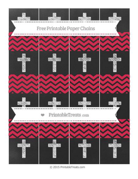 Free Amaranth Pink Chevron Chalk Style Cross Paper Chains
