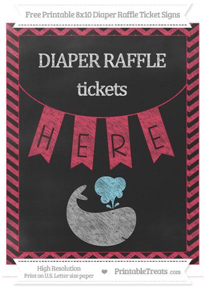 Free Amaranth Pink Chevron Chalk Style Whale 8x10 Diaper Raffle Ticket Sign