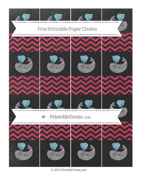 Free Amaranth Pink Chevron Chalk Style Whale Paper Chains