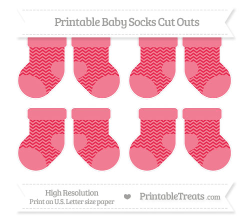 Free Amaranth Pink Chevron Small Baby Socks Cut Outs