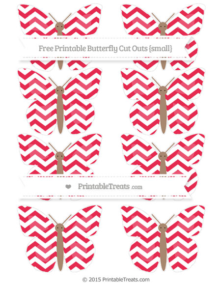 Free Amaranth Pink Chevron Small Butterfly Cut Outs