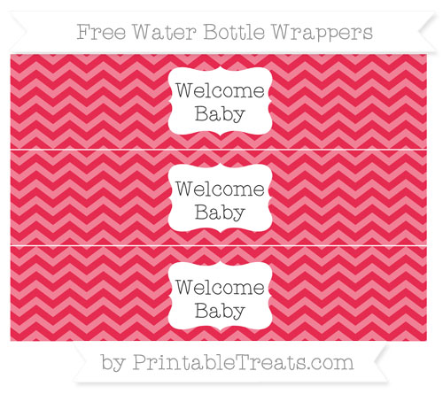 Free Amaranth Pink Chevron Welcome Baby Water Bottle Wrappers
