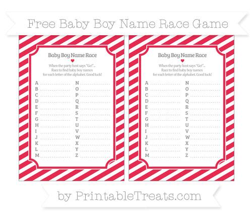 Free Amaranth Pink Diagonal Striped Baby Boy Name Race Game
