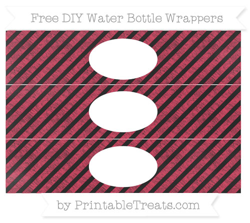 Free Amaranth Pink Diagonal Striped Chalk Style DIY Water Bottle Wrappers