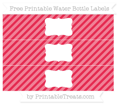 Free Amaranth Pink Diagonal Striped Water Bottle Labels