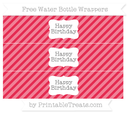 Free Amaranth Pink Diagonal Striped Happy Birhtday Water Bottle Wrappers