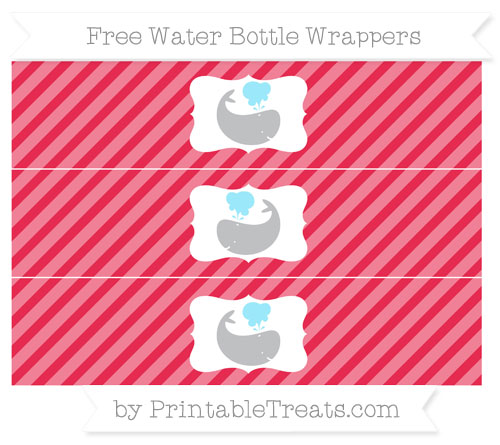 Free Amaranth Pink Diagonal Striped Whale Water Bottle Wrappers