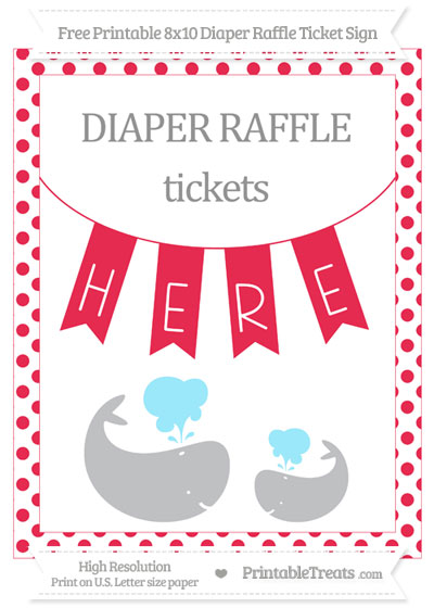 Free Amaranth Pink Dotted Baby Whale 8x10 Diaper Raffle Ticket Sign