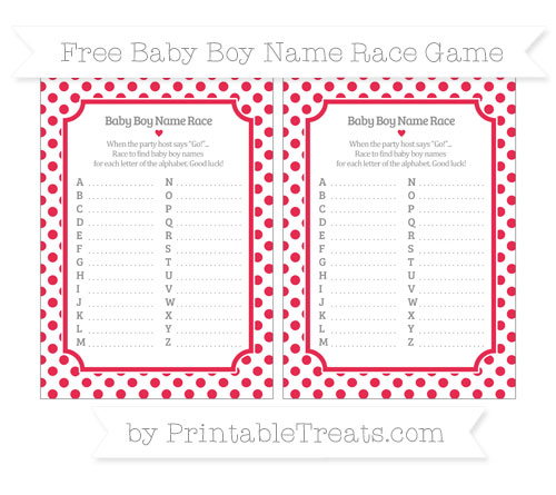 Free Amaranth Pink Dotted Pattern Baby Boy Name Race Game