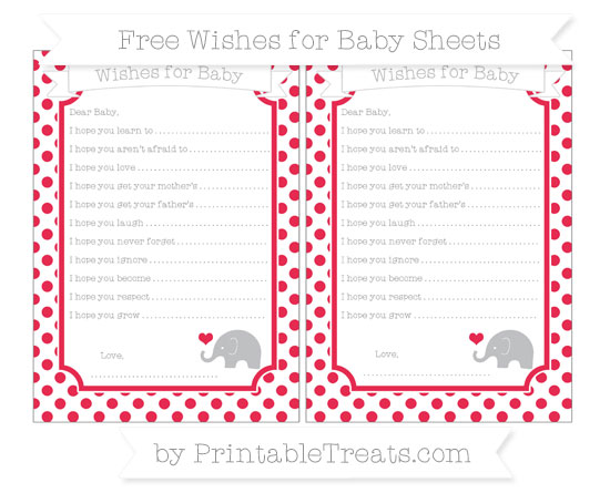 Free Amaranth Pink Dotted Pattern Baby Elephant Wishes for Baby Sheets