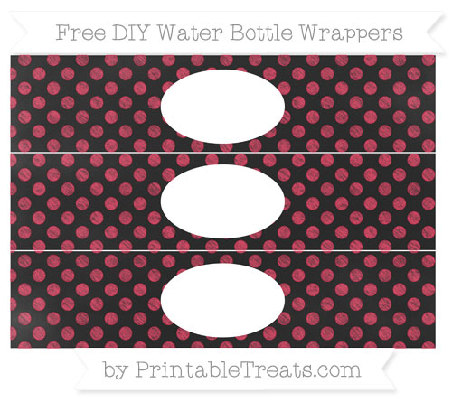 Free Amaranth Pink Dotted Pattern Chalk Style DIY Water Bottle Wrappers