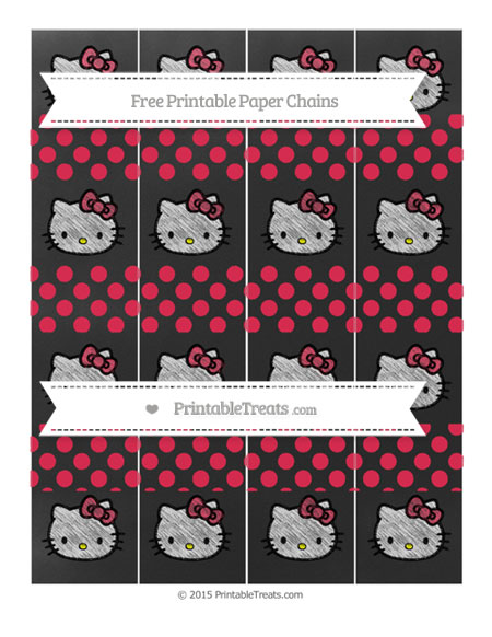 Free Amaranth Pink Dotted Pattern Chalk Style Hello Kitty Paper Chains