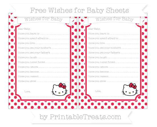 Free Amaranth Pink Dotted Pattern Hello Kitty Wishes for Baby Sheets