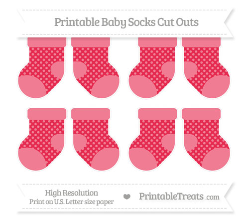Free Amaranth Pink Dotted Pattern Small Baby Socks Cut Outs