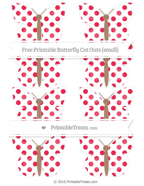Free Amaranth Pink Dotted Pattern Small Butterfly Cut Outs
