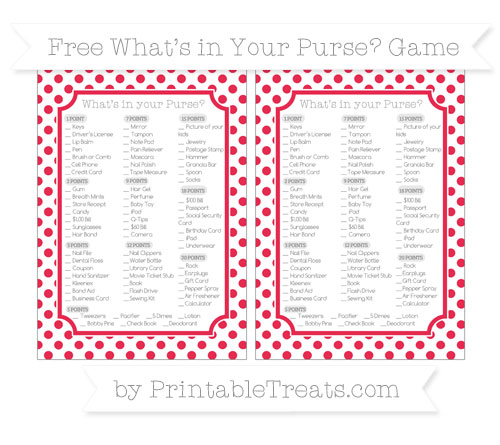 Free Amaranth Pink Dotted Pattern What's in Your Purse Baby Shower Game
