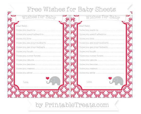 Free Amaranth Pink Fish Scale Pattern Baby Elephant Wishes for Baby Sheets