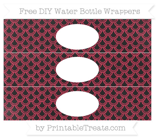 Free Amaranth Pink Fish Scale Pattern Chalk Style DIY Water Bottle Wrappers