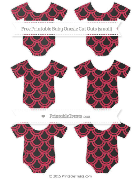 Free Amaranth Pink Fish Scale Pattern Chalk Style Small Baby Onesie Cut Outs