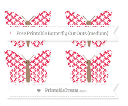 Free Amaranth Pink Fish Scale Pattern Medium Butterfly Cut Outs